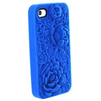 eFuture Dark Blue Flower rose silicone skin cover case fit for iphone4 4G 4S. +eFuture's nice Keyring