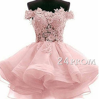 Sweetheart ball gown short lace pink prom dress,homecoming dress