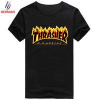 Trasher Brand Print t-shirt Fashion Skateboard Brand Clothing Men's Skateboard Compression T shirt Homme,Trasher Men PY009