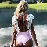 Sexy One Piece Swimsuit Women Swimwear Bodysuit Wing Swimsuits Push Up Backless Bathing Suits