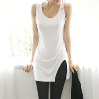 2016 Summer Women Vest Candy Color Fitness Tank Tops Sexy Side Split Slim Shirt Basic Pink Tees Tops Vests Plus Size Clothing2XL