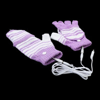 USB Powered Laptop Heating Knitting Wool Hands Warm Gloves Heated Warmer - Purple = 1958016452