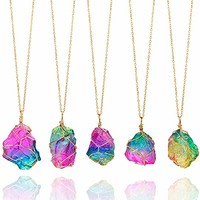Healing Stone Necklaces Chakra Crystals for Women Candy Jewelry Rainbow Natural Stone Pendant Necklace Wire Wrapped Raw Amethyst