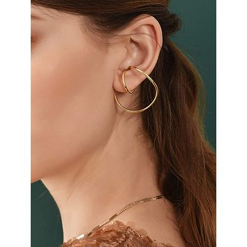 1pair Simple Line Design Earrings
