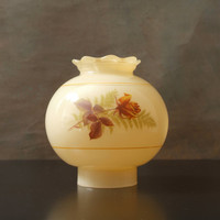 Vintage Glass Hurricane Lamp Shade with Painted Rose