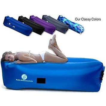 Inflatable Lounger Air Chair Sofa, Hammock, and Bed - Portable and Lightweight Chair Couch Best for Traveling, Camping, Picnic, Hiking, Festival, Beach, Lakeside, Backyard BBQ Parties, Stargazing Blue