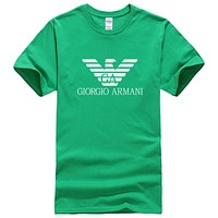 Giorgio Armani Fashion New Bust Letter Print Leisure Women Men Top T-Shirt Green
