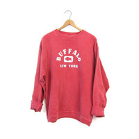 Buffalo NEW YORK Sweatshirt Pigment Dyed Pink Oversized Pullover Sweater Slouchy Sporty Athletic Top Baggy Vintage Small Medium Large