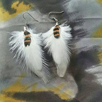 White Feather Earrings with Black and Orange Grizzly Feather Earrings - Feather Earrings - Orange Feather Earrings