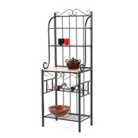 Black Metal Baker's Rack with 5-Bottle Wine Storage