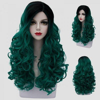 Trendy Long Synthetic Fluffy Curly Stunning Black Ombre Green Cosplay Wig For Women
