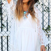 Boho Fringed Lace Cardigan