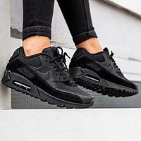 NIKE Air Max 90 Men Women Casual Running Sneakers Sport Shoes Full Black