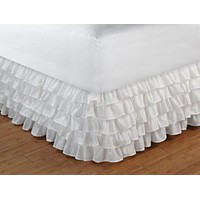 Greenland Home Fashions Accessories Multi-Ruffle White Twin Bed Skirt
