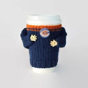 CREYON Chicago Bears coffee cozy. NFL Bears jersey. Blue orange. Knitted cup sleeve. Travel m