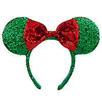 Holiday Minnie Mouse Ear Headband with Bow