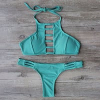 Strappy Cropped Bikini Top w/ Strappy Skimpy Bottom
