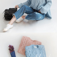Pastel Cable Knit Pullover - Miamasvin loves u! Womens Clothing. Korean Fashion.