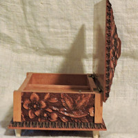 Vintage Reuge Carved Wood Floral Leaves Music Box Plays Till the End of Time Swiss Movement