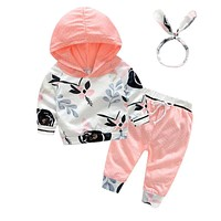 3pcs born Infant Clothing Casual Baby Girls Clothes Long Sleeve Hooded Sweatshirt Pants Baby Sportswear