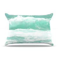 "Monika Strigel ""Maui Waves"" Teal Green Pillow Case"