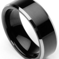 Men's Tungsten Ring/Wedding Band, Flat Top, Two Toned Black, Sizes 7 - 12 by Men's Collections (rg2)