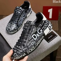 Dolce & Gabbana trend full letter printed lace-up shoes men's casual shoes Black