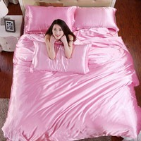 New Luxury Bedding Sets Bright Pink Good QualityQuilt Cover Bed Sheet Bedding Set Duvet Cover Sets Twin Queen King S