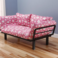 Hennepin Contemporary Daybed Futon Lounger with Black Metal Steel Frame, Includes Two Pillows, Meadowlark