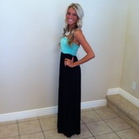 Mint and Black Strapless Maxi Dress with Cinched Bust with Two Side Pockets Maxi Dress