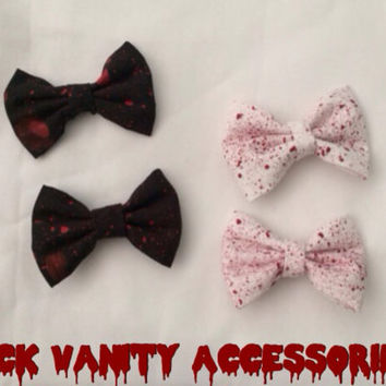 Two Hand-Painted Blood Splatter Bow Hair Clips Black or White