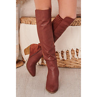 IMPERFECT Up Close And Personal Faux Tall Boots (Tan)