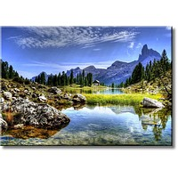 Landscape and Mountain View Picture on Stretched Canvas, Wall Art Décor, Ready to Hang