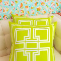 Blush Label Greek Key Pillow - Lime