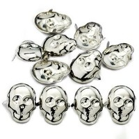 AutoM OEM Silver Color DIY 100pcs Punk Style Skull Head Fashion Design Studs Rivet Spike Leathercraft Nailheads