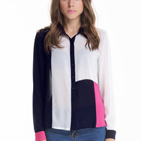 White and Navy Long Sleeve Blocking Blouse - Sheinside.com