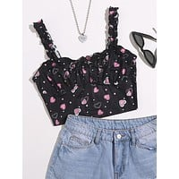 SHEIN Tie Front Ruched Bust Heart Print Top