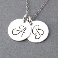 Personalized Initial Necklace - pendant necklace - Personalized Hand Stamped Initial Charm - Minimal Necklace -gift