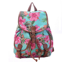Women's Canvas Green Floral Backpack School Daypack Travel Bag