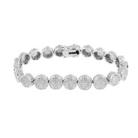 White Lab Diamond Bracelet Round Link Iced Out