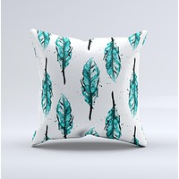 The Splattered Teal Watercolor Feathers ink-Fuzed Decorative Throw Pillow