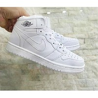 Nike Air Retro Jordan White Women Men Contrast High Top Shoes B-A-HYSM