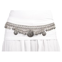 Western Chain Adjustable Belt with Dangling Coins - Available in Goldtone and Silvertone
