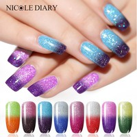 NICOLE DIARY Glitter Temperature Nail Polish Purple Color Changing Thermal Water-based Nail Art Polish Lacquer Varnish 8 Colors
