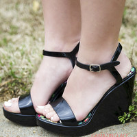 Save The Last Dance Black Jelly Wedge Sandals With Ankle Strap