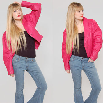Vintage 80s PINK Leather Jacket Cropped Jacket Rocker Chic Glam Fitted Motorcycle Jacket