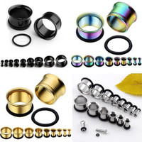 Ear Expander Body Piercing Jewelry Pair Stainless Steel Single Flare