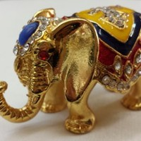 Gorgeous Elephant Jewelled Trinket Box Jewelry Box with Inlaid Crystal, Pill Box Figurine