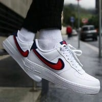 NIKE Air Force New fashion red hook sports running leisure couple shoes White