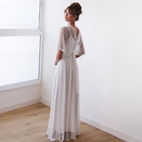 White vintage Lace,  Ivory white maxi dress with bat sleeves , Dress with slit , Wedding Ivory dress